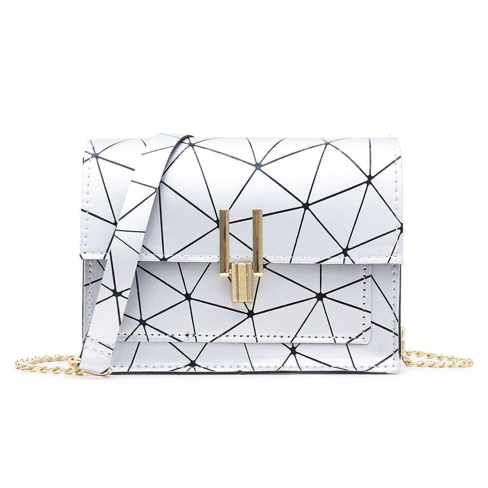 Geometris Cetak Tas Bahu untuk Wanita 2019 Fashion Baru PU Kulit Messenger Tas Tas Bolsas Feminina Mujer Sac utama
