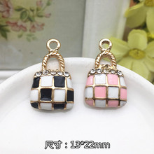 Wholesale Rhinestone decoration Alloy drop oil gold plated tartan check handbag shape jewelry charms diy phone