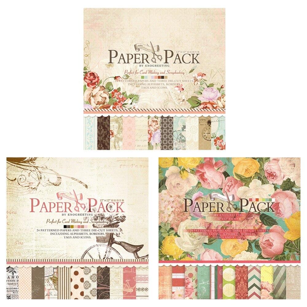 24 Sheets 305*305mm Handmade Craft Paper Craft Background Pad Beautiful DIY Vintage Floral Design Scrapbooking Paper Pack New craft