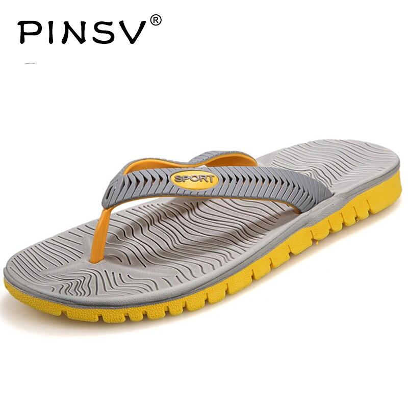 PINSV Summer Beach Shoes Men Flip Flops Men Beach Sandals Sandalias De Hombre Chinelo Masculino Herren Schuhe Sandale Sports  стоимость