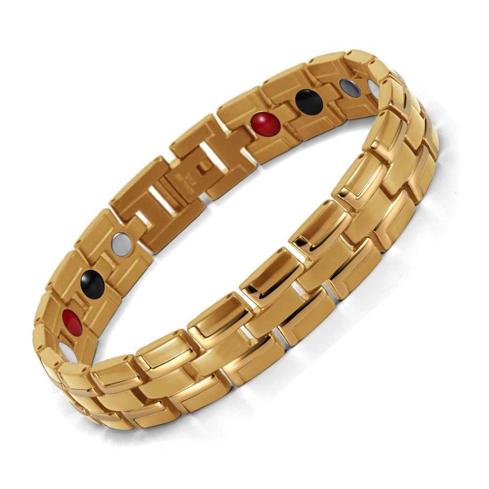 Bransoletka magnetyczna z właściwościami uzdrawiającymi mężczyźni/kobiety stal nierdzewna 316L 3 elementy opieki zdrowotnej (magnetyczny, jodła, german) złoty bransoletka łańcuch ręczny