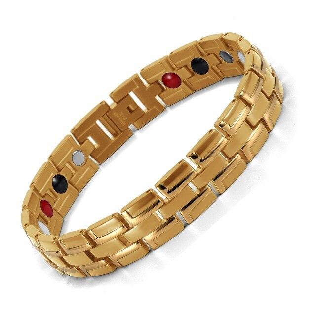 Healing Magnetic Bracelet Men/Woman 316L Stainless Steel 3 Health Care Elements(Magnetic,FIR,Germanium) Gold Bracelet Hand Chain 2