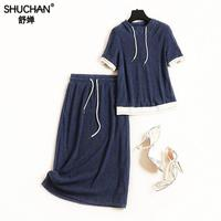 Shuchan Casual 2 Piece Set Women Pullover With Hooded+pencil Skirts Elastic Waist Navy Blue Calf length Pants Conjunto Feminino