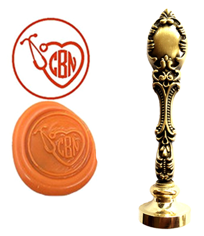 Doctor Stethoscope Vintage Custom Picture Logo Luxury Wax Seal Sealing Stamp Brass Peacock Metal Handle Gift Set health care professional medical double headed stethoscope doctor use stethoscope