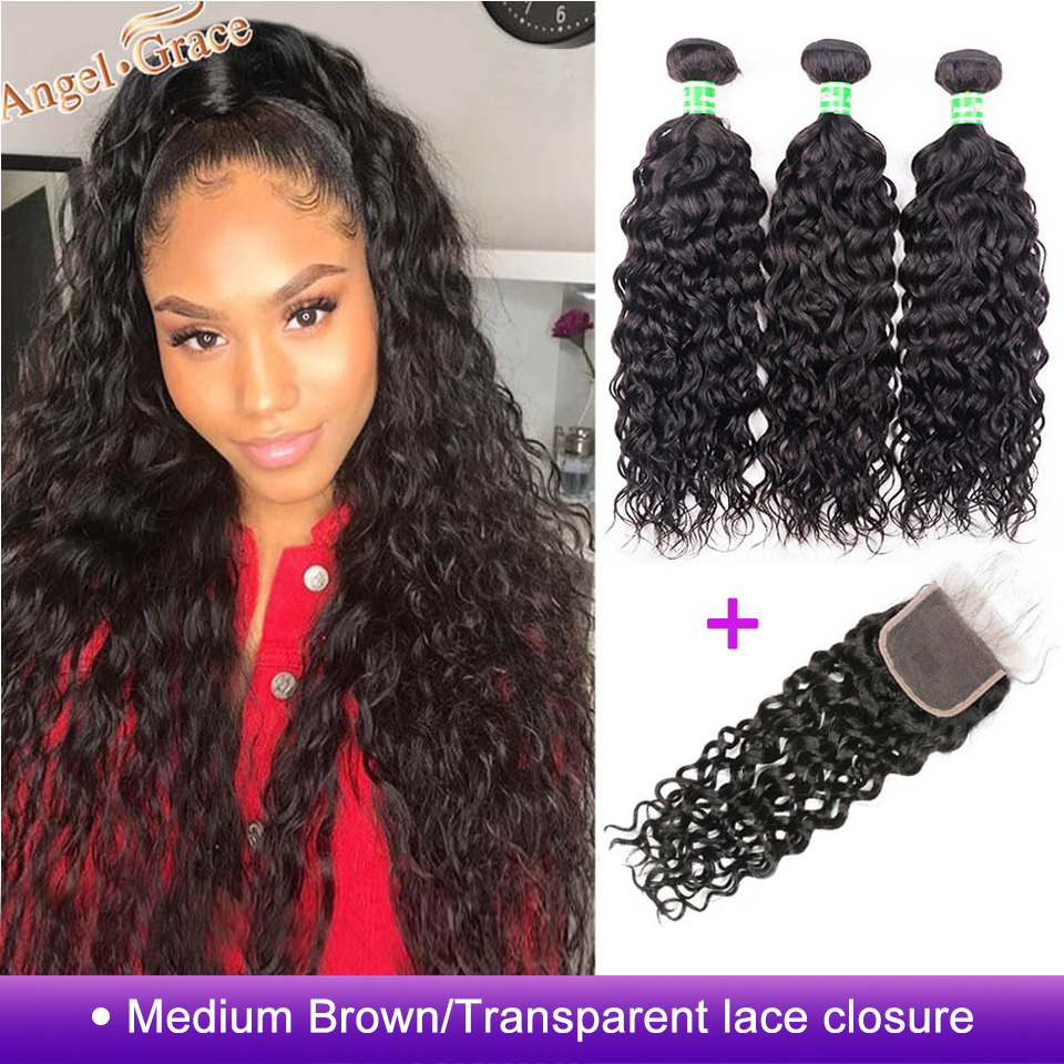AngelGrace Hair Water Wave Bundles With Closure Remy Human Hair 3 Bundles With Closure Brazilian Hair Weave Bundles With Closure(China)