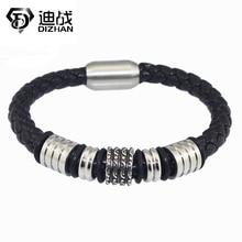 Nouvelle Mode en gros Vintage bijoux En Acier Inoxydable Bracelets Noir Véritable En Cuir Corde Chaîne De Main Mens Bracelets