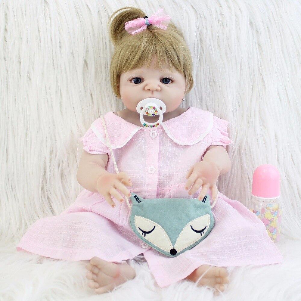 все цены на 55cm New Full Body Silicone Reborn Baby Doll Toy Lifelike 22'' Vinyl Newborn Princess Babies Girl Bonecas Bebe Alive Bathe Toy онлайн