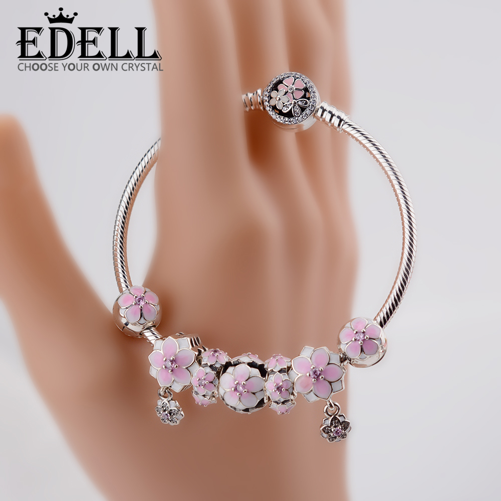 EDELL Genuine 100% 925 Sterling Silver Bracelet Pollen series For Set Women Bracele Original birthday Gift charm bead Jewelry edell 100% 925 sterling silver new charm cute cow beaded exquisite lucky women gift original jewelry factory direct sales 797609