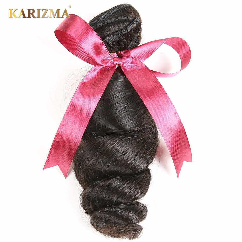 Extensiones de cabello de onda suelta brasileña Karizma, extensiones 100% de cabello humano, cabello no Remy ondulado, 1 pieza de 8 a 28 pulgadas, Color Natural que Se puede teñir