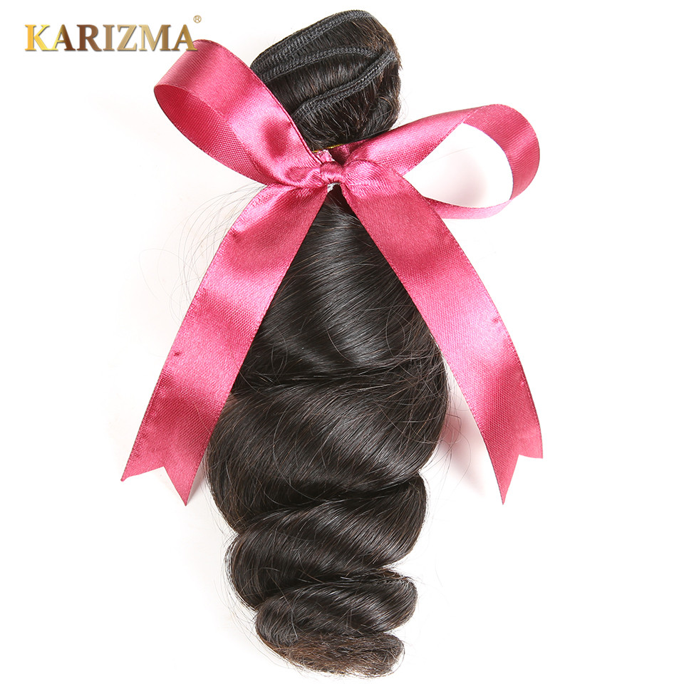 Karizma 100% brasiliansk Human Hair Weaving Loose Wave 8-28inch - Menneskelig hår (for svart)