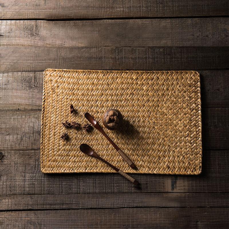 japn estilo de paja tejida mantel de mesa creativa decoracin uso almohadilla resistente al calor estera t