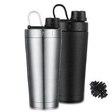 Protein Shaker cup stainless steel water bottle Outdoor Gym Training drink powder milk mixer travel Portable bottles 500ml
