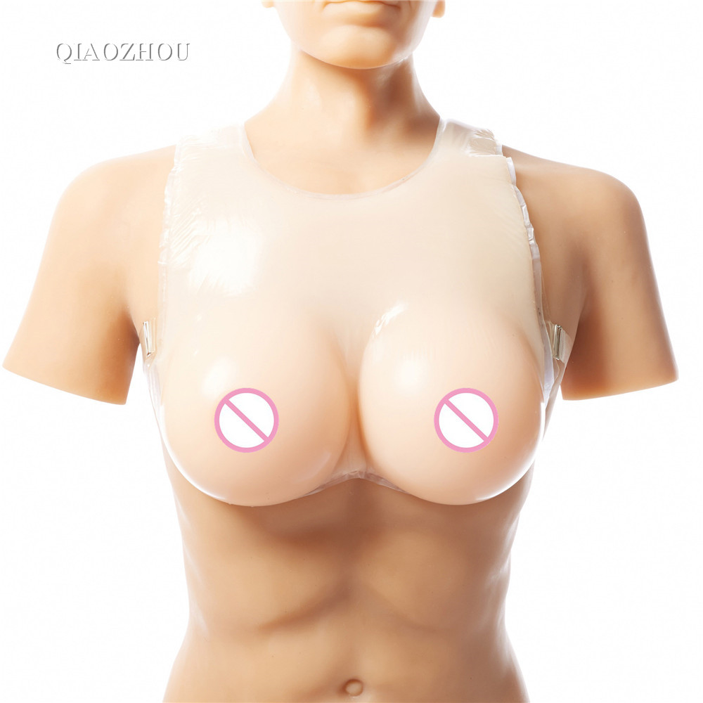 1200g realistic silicone breast forms for man cosplay crossdressing soft artificial boobs with bra straps 1200g realistic silicone breast forms with straps crossdresser transsexual boobs enhancer