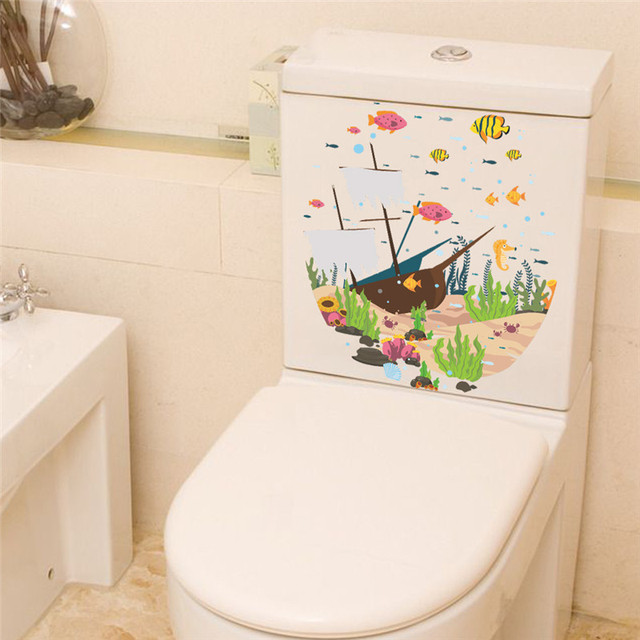 Underwater Boat Fish Wall Stickers Decals Sea Fish Carton Bathroom - Decals for boat seats