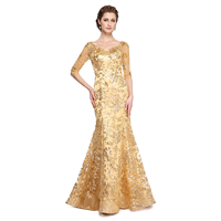 LAN TING BRIDE Mermaid / Trumpet V Neck Floor Length Sequined Mother of the Bride Dress with Sequin Pleats