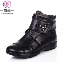 Plus Size 35 43 2014 New Fashion Winter Women Genuine Leather Flat Ankle Boots Mother Shoes