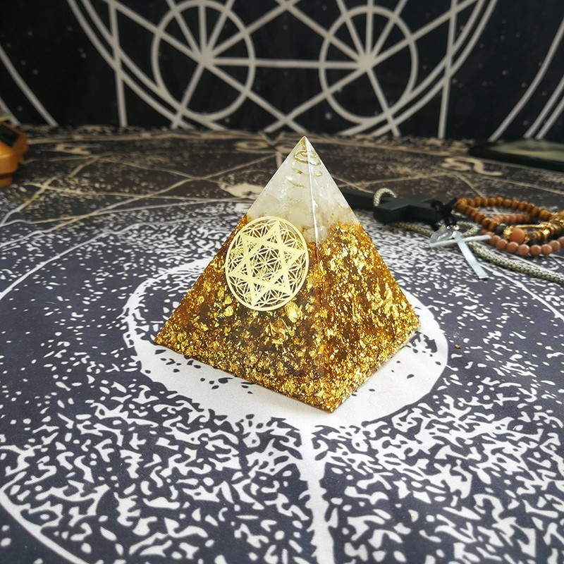 Orgonite Pyramid Gabriel Maripura Chakra Citrine Enhances People's Creative Ability Resin Pyramid Jewelry Ornaments