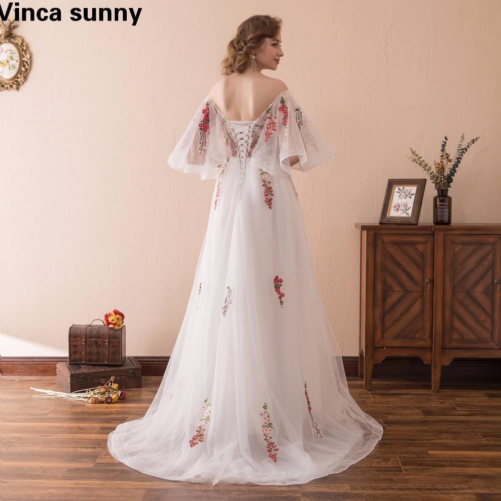 Vinca sunny 2018 Կարճ թև Backless A-Line ծաղկային - Հատուկ առիթի զգեստներ - Լուսանկար 5