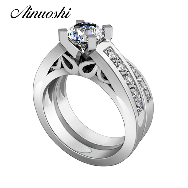 AINUOSHI New Wedding Rings Set 925 Sterling Silver Victoria Wieck Rings SONA NSCD Mujer Anillo Women