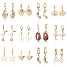Za Shell Star Drop Earrings For Women Fashion Bohemian Earings Jewelry Earring Wedding Party Gifts boucle doreille femme ZA