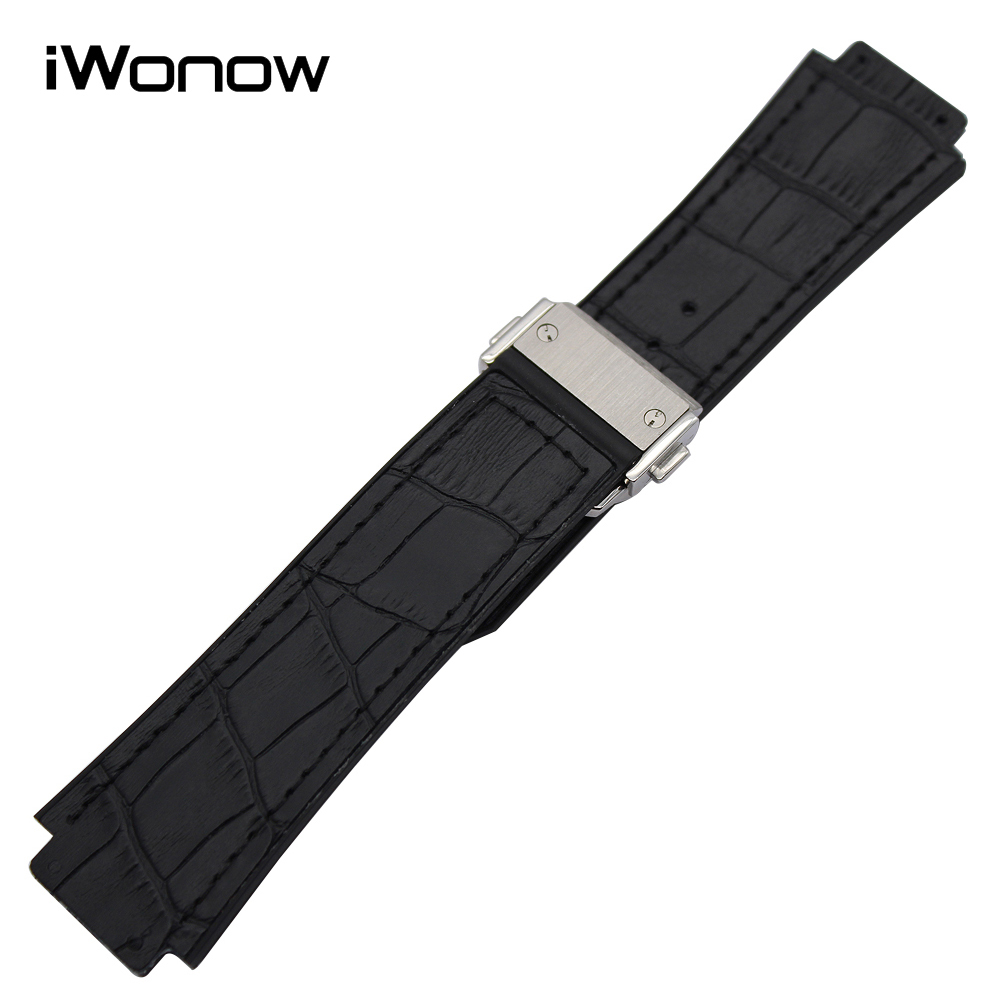 26mm x 19mm Genuine Leather + Silicone Rubber Watchband for HUB Watch Band Steel Butterfly Clasp Wrist Strap Black Brown Blue