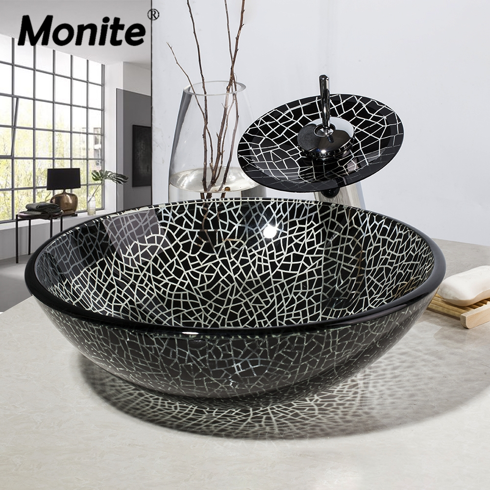 Monite Black Cracked Round Bathroom Art Design Washbasin Tempered Glass Vessel Sink With Waterfall Chrome Brass