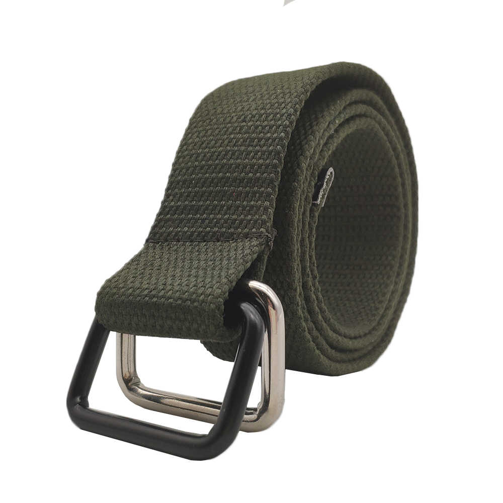 Fashion New Casual Neutral Canvas belts for jeans women mens Rectangular  ring double buckle Student Belt e620817e159