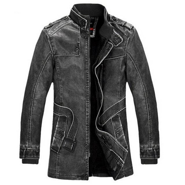 Leather Jacket men Slim Warm mens washed Leather Motorcycle Biker Jackets Standing Collar Coat Plus size XXXL Outwear parka