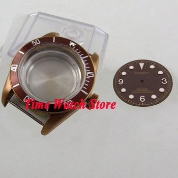 CORGEUT 41 millimetri vetro zaffiro Bronzo rivestito watch case fit ETA 2836 movimento MIYOTA con caffè quadrante C105