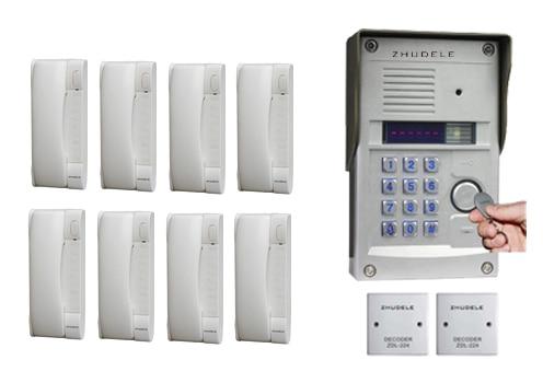 Hell Zhudele Luxus Sprech Für 8-apartments Sprechanlage Home Security Audio-türsprechanlage Wasserdichte Utdoor Station Auf Lager Audio Intercom