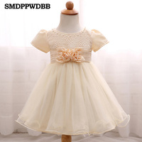 Baby Girl Dress Newborn Party Princess Infant Dress Big Bow Lace Wedding Summer Short Sleeve Christmas