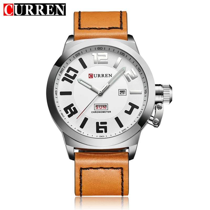 Curren Mens Business Men Quartz Watch Leather Band Watches Auto Date Week Day Fashion Sport Male Wristwatches with gift box 8270 reloj hombre curren gold watch men leather date day hours quartz casual watches mens rectangle wristwatches 30m waterproof 8097