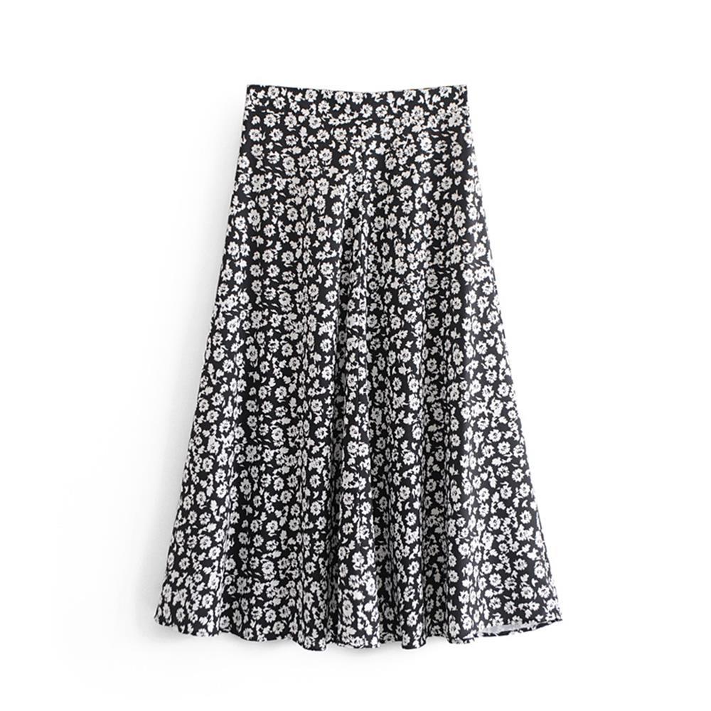 European And American Spring And Summer 2019 Broken Printed High Waist Half-length Skirt Women's Medium-length Skirt A-shaped Sk