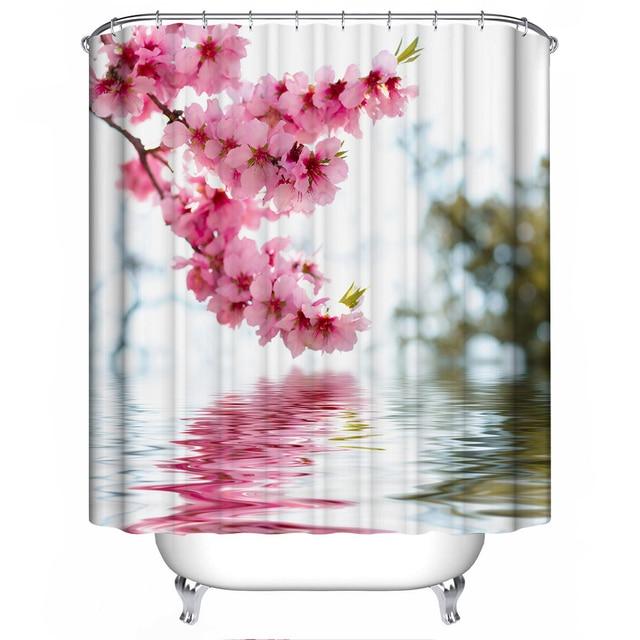 180 *180cm 3D Shower Curtains Hooks Peach Blossom Woods Pattern ...