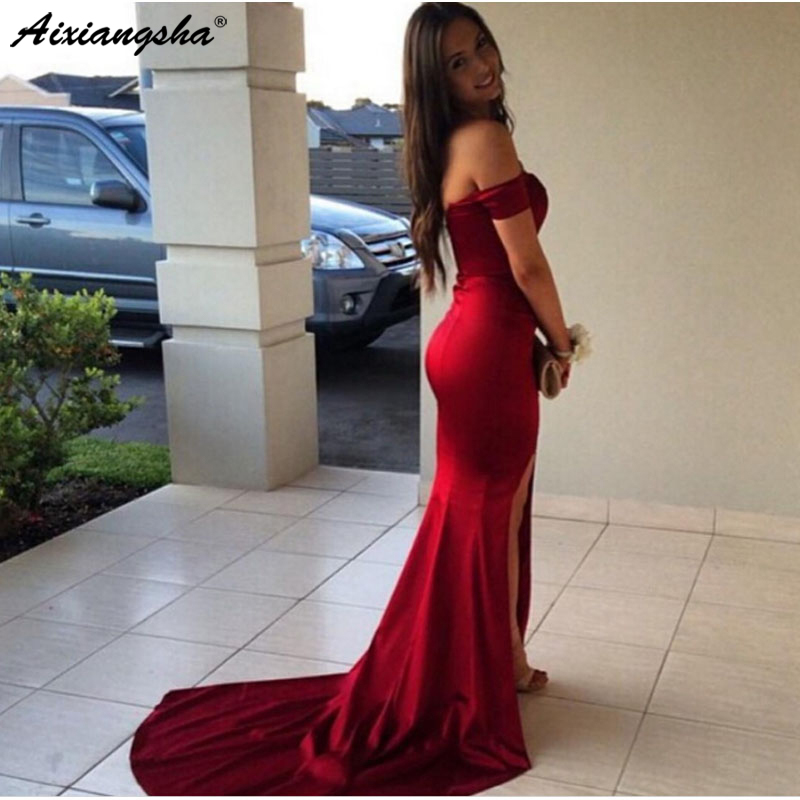 New 2019 Modern Off the Shoulder Mermaid Prom Dresses Sleeveless Sweetheart Front Split Long Party Evening Gowns Formal Dress