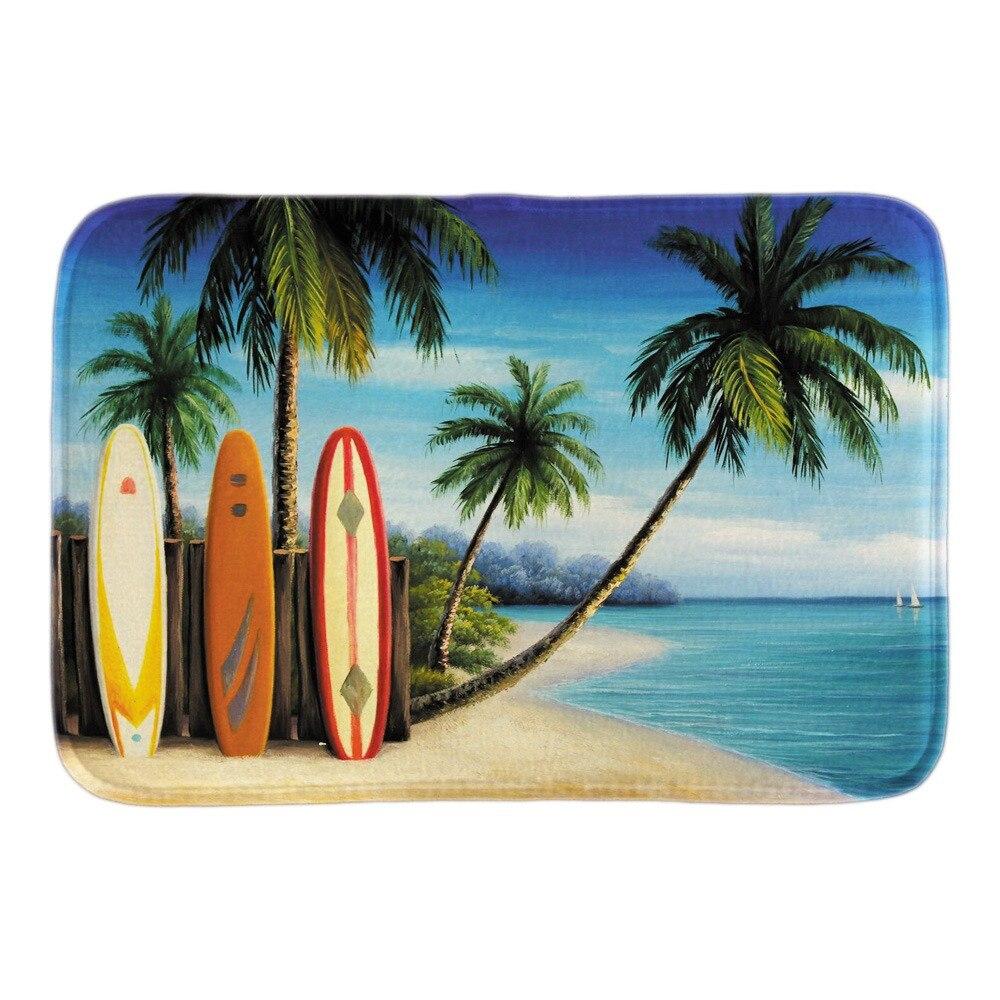 Floor mats decorative - Home Decorative Doormats Island Surfboards Palm Trees Soft Lightness Indoor Outdoor Mats Bathroom Rug Floor Mats Short Plush Mat