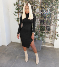 Solid Cotton Ribbed Dress Women Turtleneck Long Sleeve Side Slit Bodycon Midi Dress Autumn Winter Outfits Sexy Clubwear