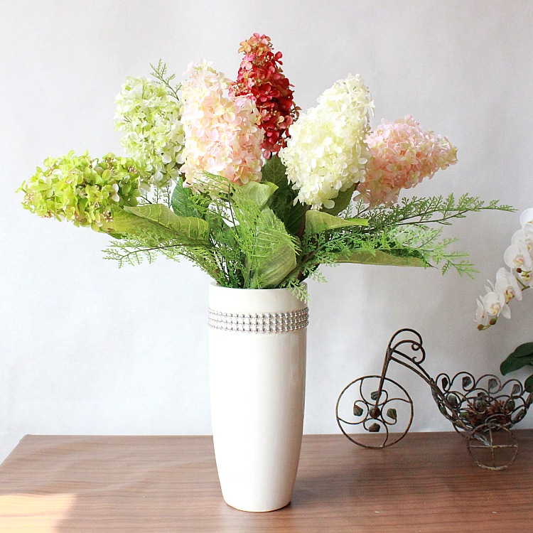 Beautiful artificial hydrangea home decoration faux silk flowers beautiful artificial hydrangea home decoration faux silk flowerswedding party christmas floral arrangements 6pcs in artificial dried flowers from home mightylinksfo Choice Image