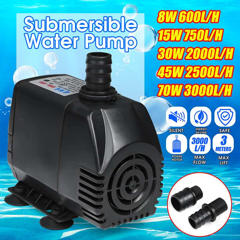 8W/15W/30W/45W/70W Household Ultra-Quiet Submersible Water Fountain Pump Filter Fish Pond Aquarium Water Pump Tank Fountain