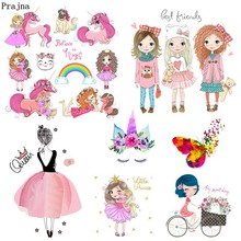Prajna Fashion Girl Unicorn Iron On Transfers Heat Transfer Vinyl Ironing Thermal Stickers T-shirt Summer Style Patches DIY