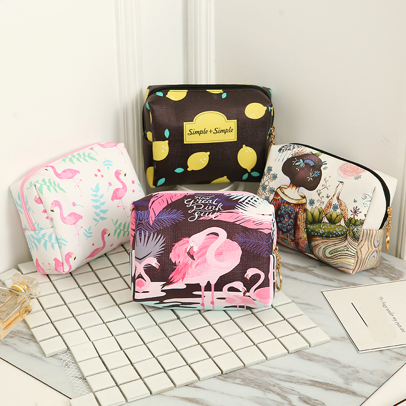 Women Travel Cosmetic Bag Animal Flamingo Makeup Bag Zipper Make Up Handbag Organizer Storage Pouch Toiletry Wash Beauty Box
