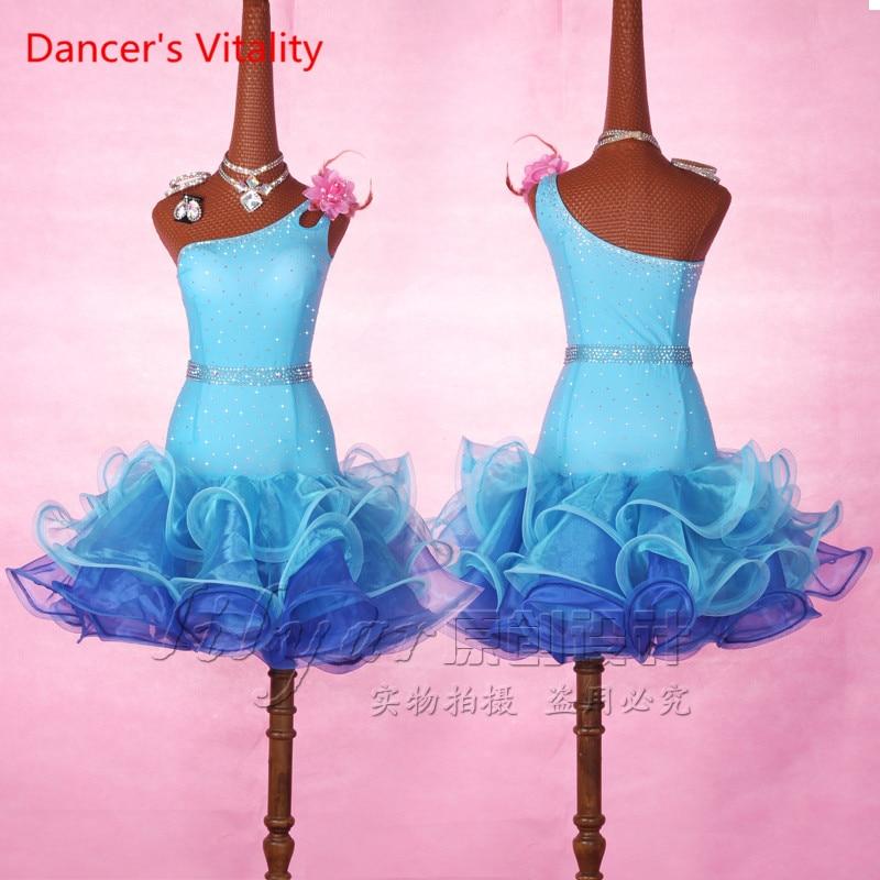 Dancers Vitality Latin Dance Dress Girls One Shoulder Cupcake Dress Latin Dress Salsa Samba Tango Ballroom Competition Costume