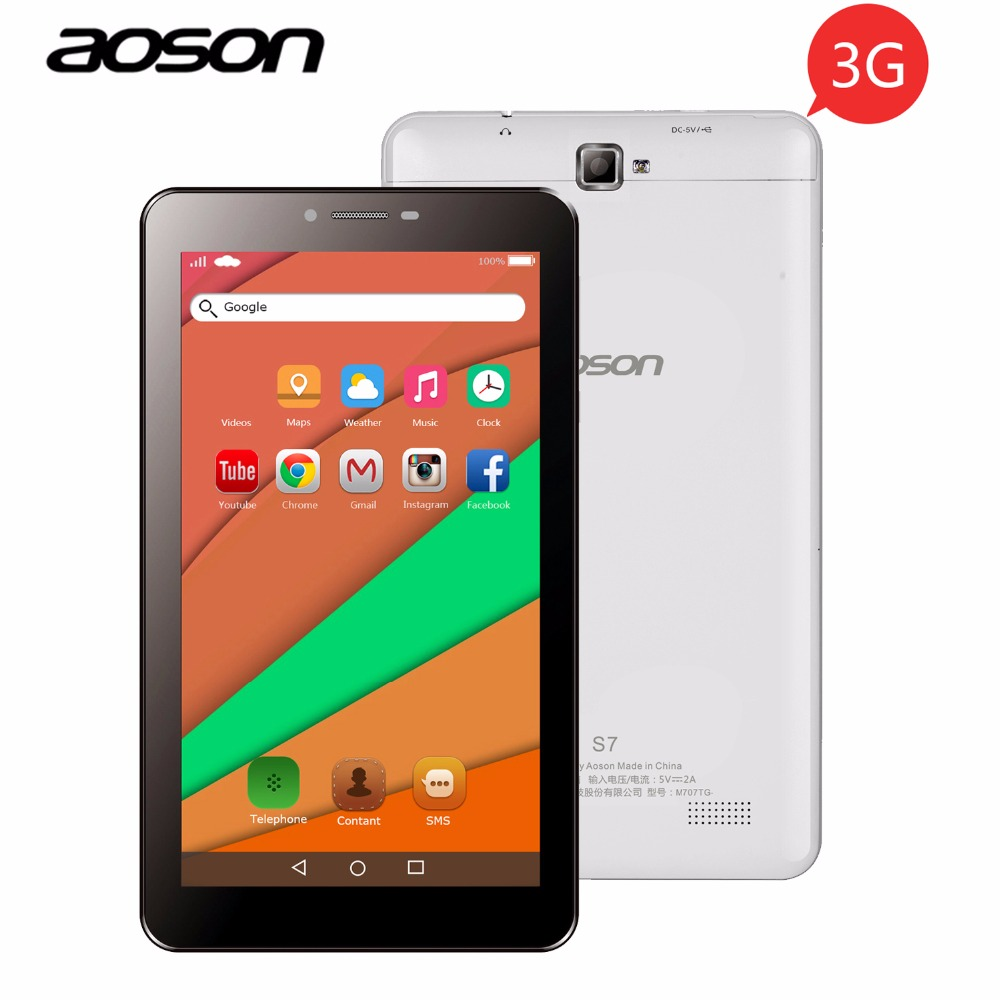 Aoson S7 7 inch 3G WCDMA phone call tablet PC 1GB/8GB Android IPS Dual SIM Dual Cam GPS WIFI Bluetooth 3G Phablet Kids Tablets hot irulu x6 3g phablet 7 android 7 0 slim tablet phone call quad core 1024x600 ips rom 16gb dual cam wireless fm gps 2800mah