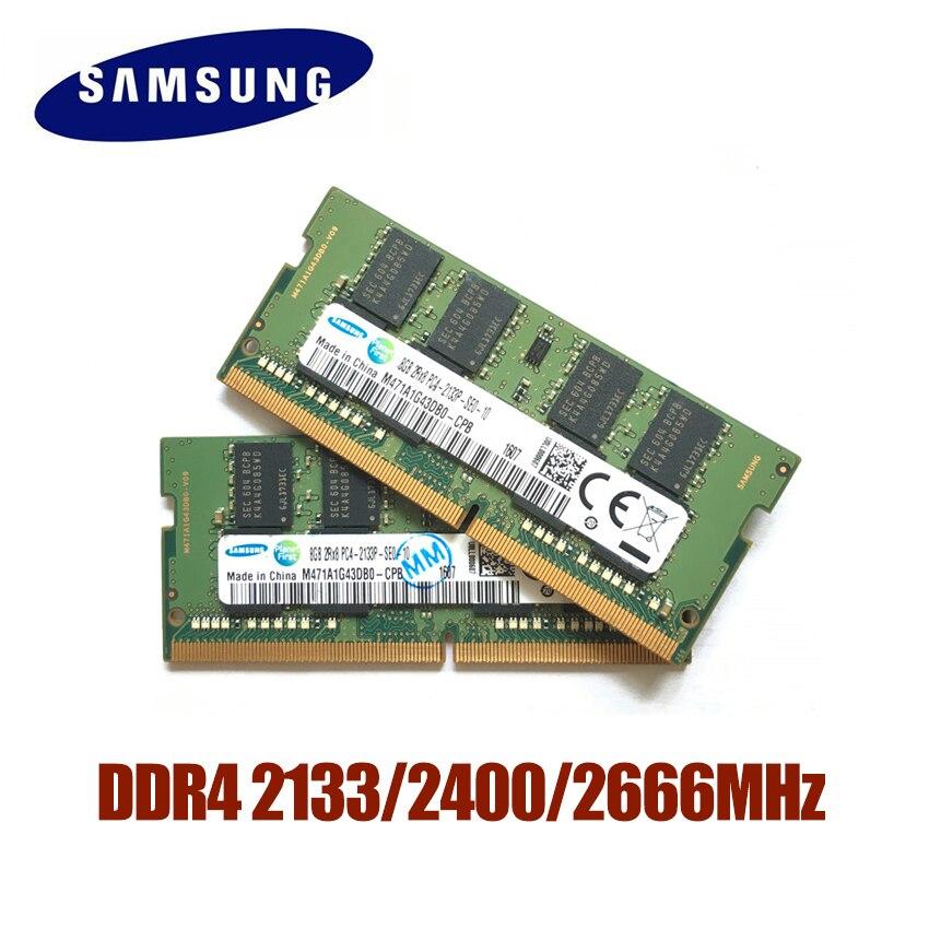 SAMSUNG DDR4 4G 8G 16G Ordinateur Portable mémoire vive 2133 2400 2666 Memoria DRAM Bâton pour Portable 100% D'origine 4 GB 8 GB 16 GB RAM
