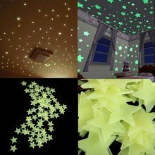 100PCS/Lot 3cm Luminous Star Stickers Bedroom Sofa Fluorescent Painting Toy PVC Stickers Glow in the Dark Toys for Kids(China)