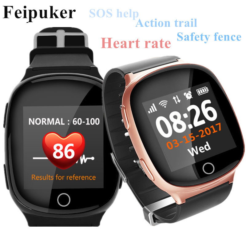 цена D100 Elderly Smart Watch GPS+LBS+WIFI Positioning Anti-lost Heart Rate Sports Tracker Fall Alarm SOS Wristwatch