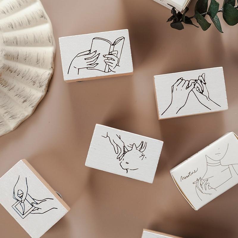 Vintage hand gestures Series wood rubber stamps for scrapbooking stationery DIY standard wooden stamp