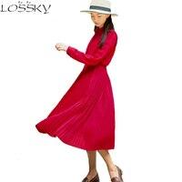 2017 Autumn Pleated Chiffon Dress Women Long Sleeve Slim Turn Down Collar Elegant Dresses Casual OL