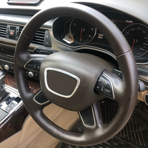 Image 2 - ABS كروم عجلة القيادة تريم مركز شعارات شعار إطار ملصق اكسسوارات لأودي A3 S3 8V A4 B8 B9 A6 C7 Q3 Q5 Q7