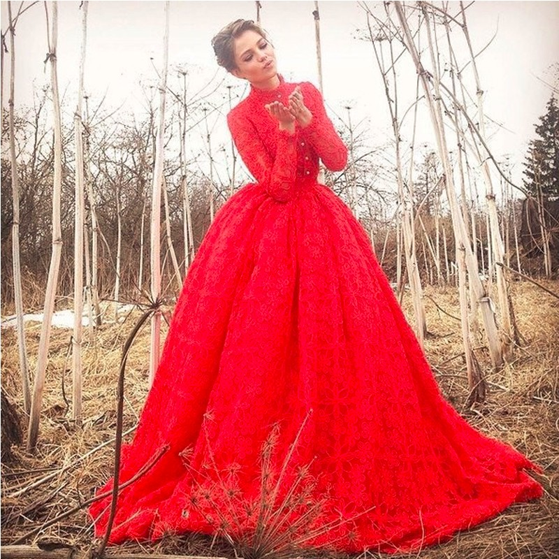 Muslim red wedding dresses 2017 lace long high sleeves for Red wedding dresses with sleeves